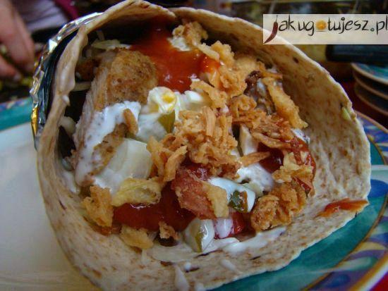 Domowy kebab wieprzowy w tortilli