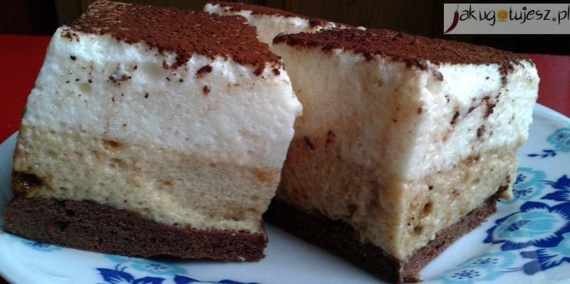 Ciasto ptasie mleczko kawowo-waniliowe